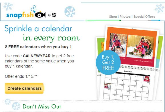 snapfish calendar promo