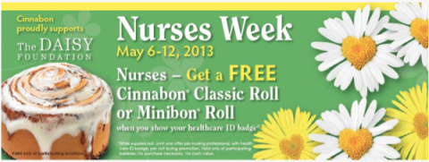 cinnabon free nurses week